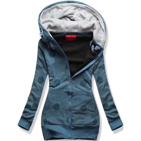 Sweatjacke mit Allover-Design jeansblau