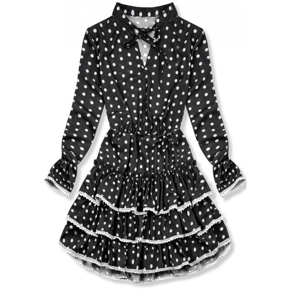 Volantkleid mit Punkten schwarz