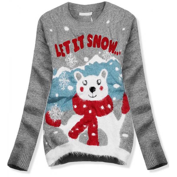 Pullover LET IT SNOW grau