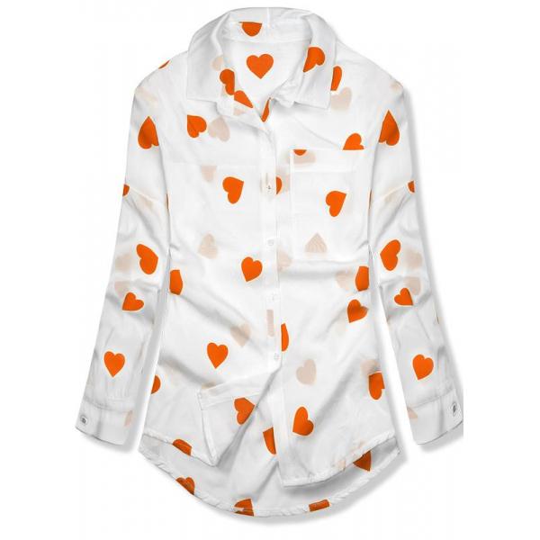 Hemd mit Herzprint orange