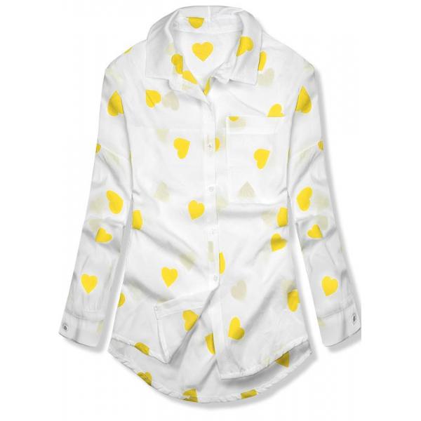 Hemd mit Herzprint gelb