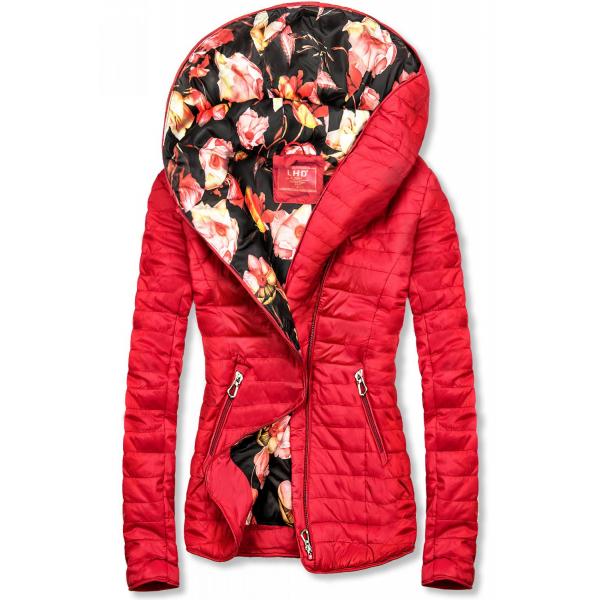 Rote Jacke mit Blumenfutter von LHD rot