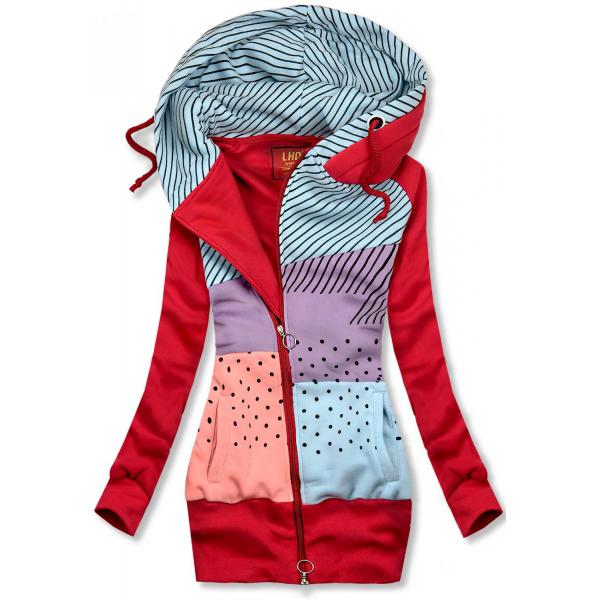 Gemustertes Sweatshirt im verlängerten Schnitt rot