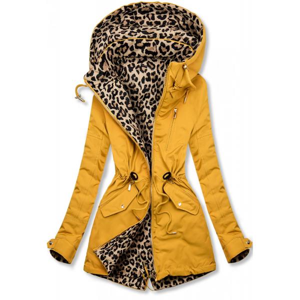Zweiseitiger Parka mit Leopardenmuster gelb