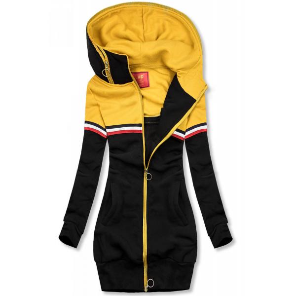 Verlängertes Sweatshirt schwarz / gelb