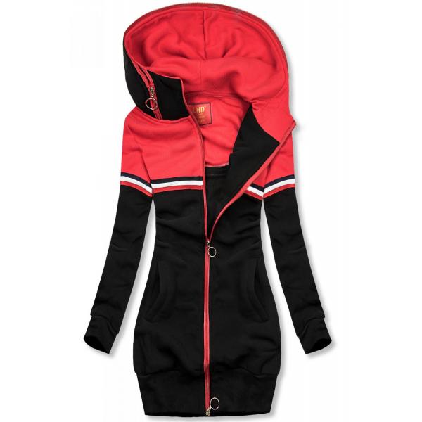 Verlängertes Sweatshirt schwarz / rot