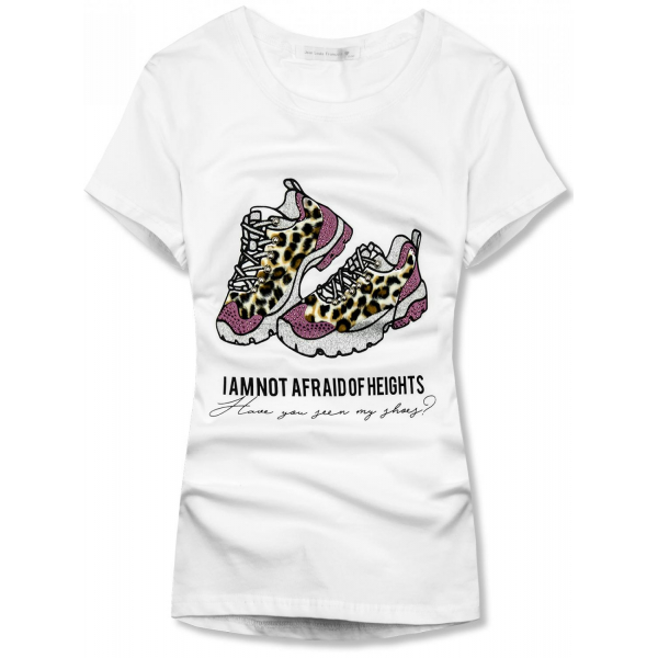 Weißes Damen-T-Shirt mit Schuhdesign