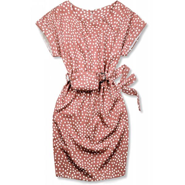 Altrosa gepunktetes Kleid mit Tasche in der Taille