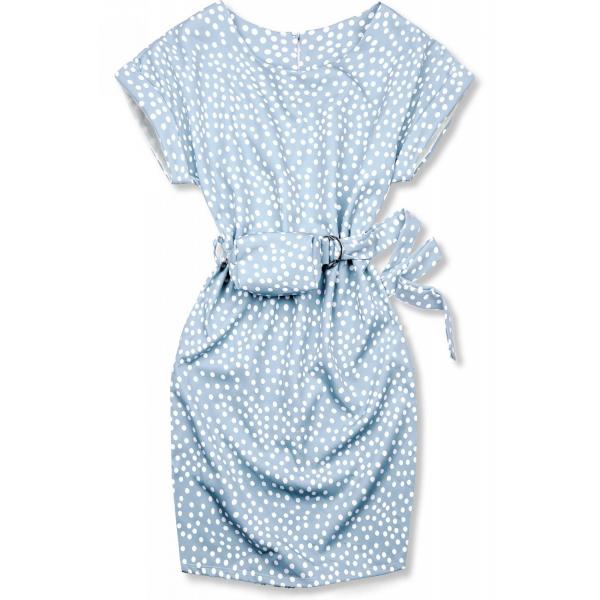 Hellblaues Kleid mit Tasche in der Taille