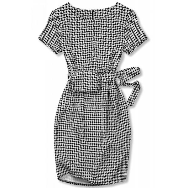 Kleid mit Tasche in der Taille weiß/schwarz