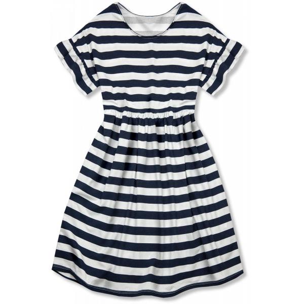 Sommerkleid mit Volants blau/weiß I.